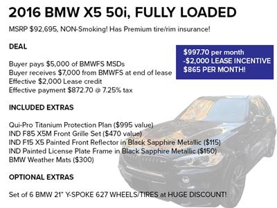 2016 BMW X5 lease in Chicago,IL - Swapalease.com